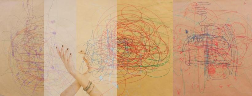 dibujos de garabatos en varios colores y foto de manos de una bailarina